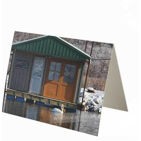 Pelican at Boathouse Minnesota City Boat Club Notecard, Small, 1-pk or 5-pk - Kari Yearous Photography WinonaGifts KetoGifts LoveDecorah