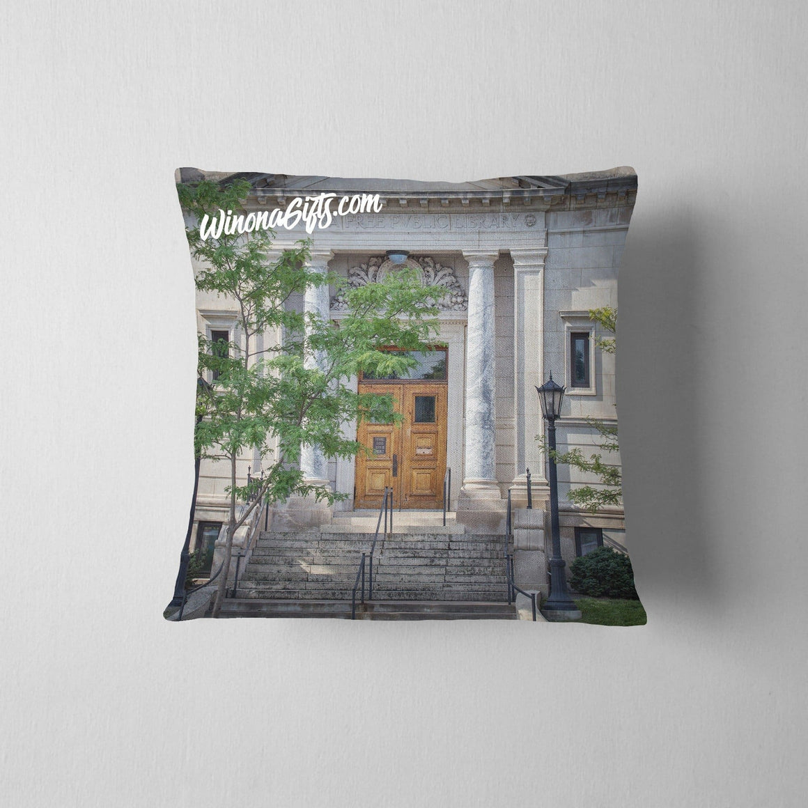 Pillow Winona Public Library Front Entrance - Kari Yearous Photography WinonaGifts KetoGifts LoveDecorah