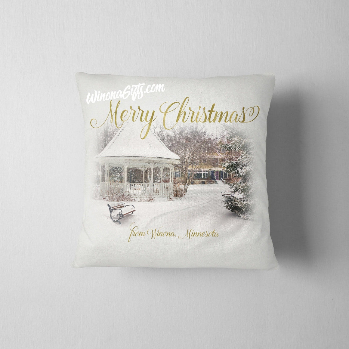 Pillow Merry Christmas from Winona MN Snowy Gazebo - Kari Yearous Photography WinonaGifts KetoGifts LoveDecorah