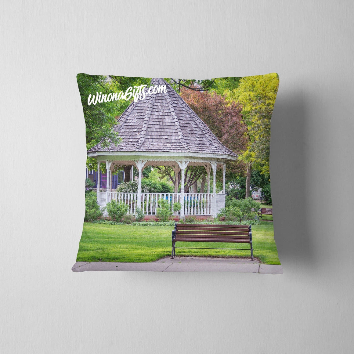 Pillow Winona MN Spring Gazebo at Windom Park - Kari Yearous Photography WinonaGifts KetoGifts LoveDecorah