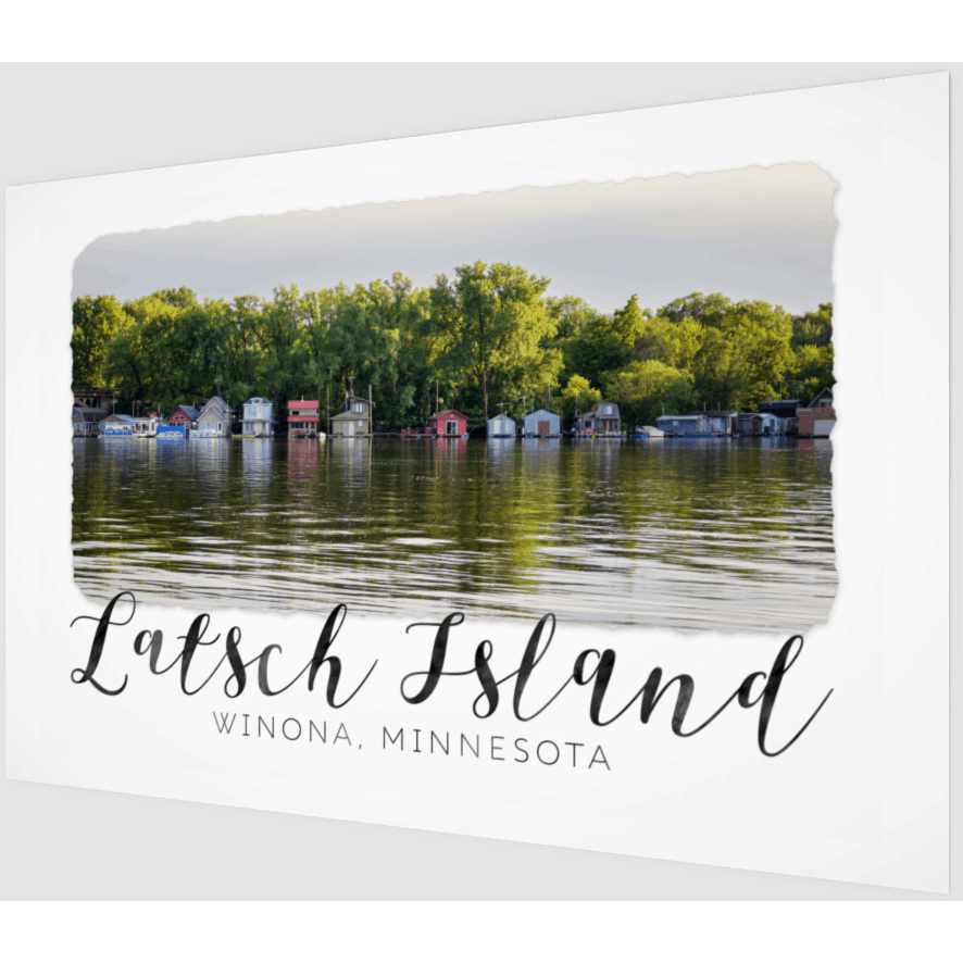Wood Print Latsch Island Boathouses With Text - Kari Yearous Photography