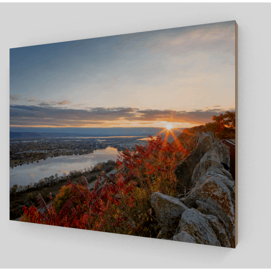 Wood Print Autumn Sunrise at Garvin Heights - Kari Yearous Photography WinonaGifts KetoGifts LoveDecorah