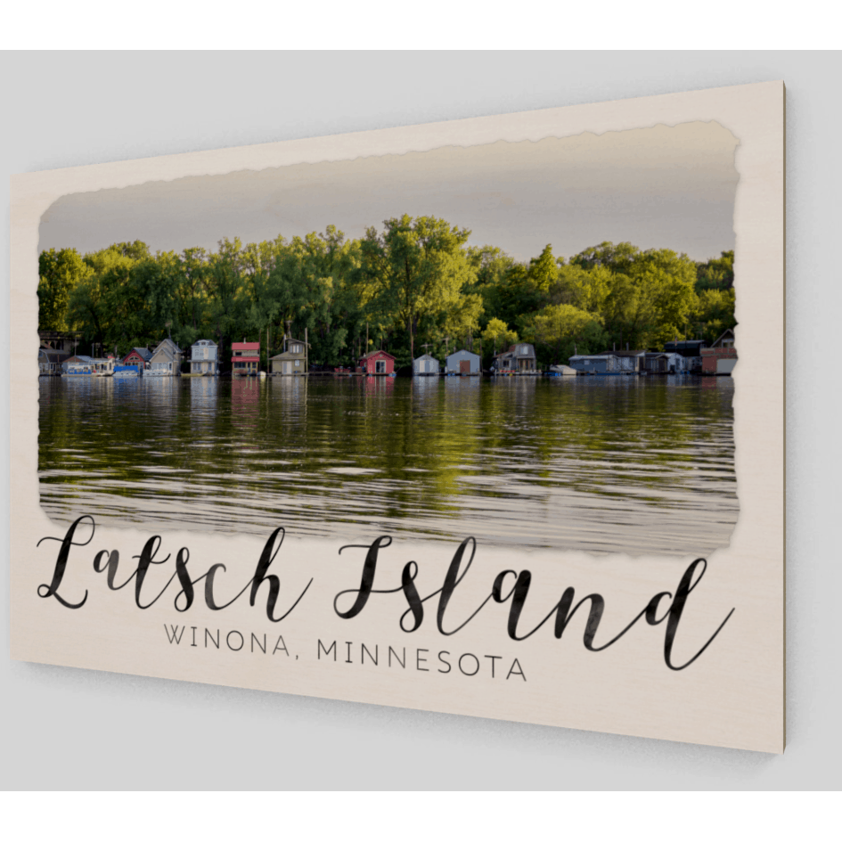 Wood Print Latsch Island Boathouses With Text - Kari Yearous Photography WinonaGifts KetoGifts LoveDecorah