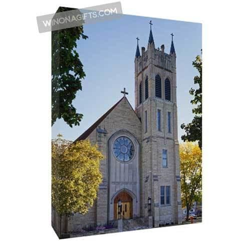 "St Martin's Church Winona Minnesota Canvas Wrap 5"" x 7"" - Kari Yearous Photography WinonaGifts KetoGifts LoveDecorah"