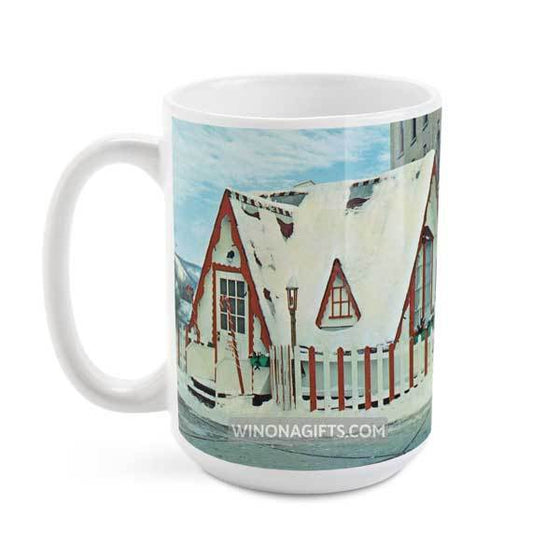 Coffee Mug Santa House Downtown Winona Minnesota, Large 15 oz Mug - Kari Yearous Photography WinonaGifts KetoGifts LoveDecorah