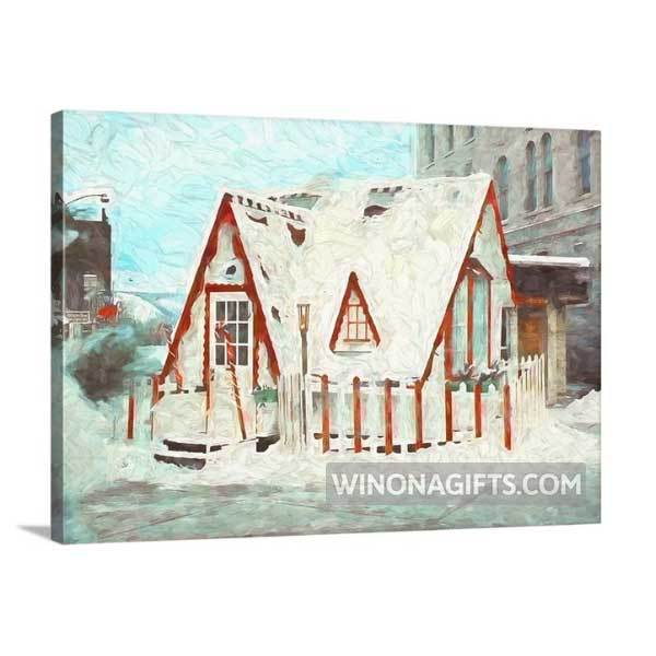"Santa House Downtown Winona Minnesota Mini Canvas Wrap 5"" x 7"" - Kari Yearous Photography WinonaGifts KetoGifts LoveDecorah"