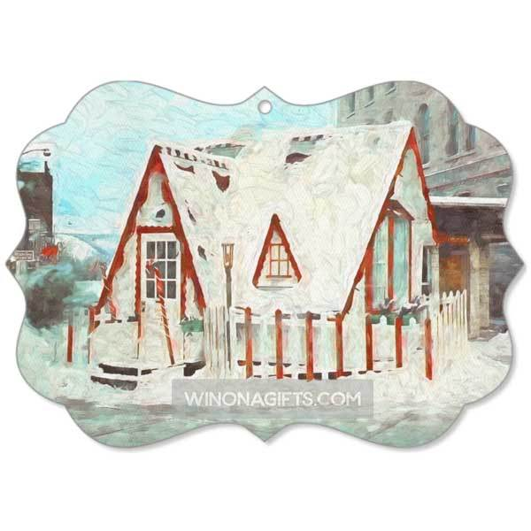 Santa House Downtown Winona Minnesota Canvas Christmas Ornament - Kari Yearous Photography WinonaGifts KetoGifts LoveDecorah
