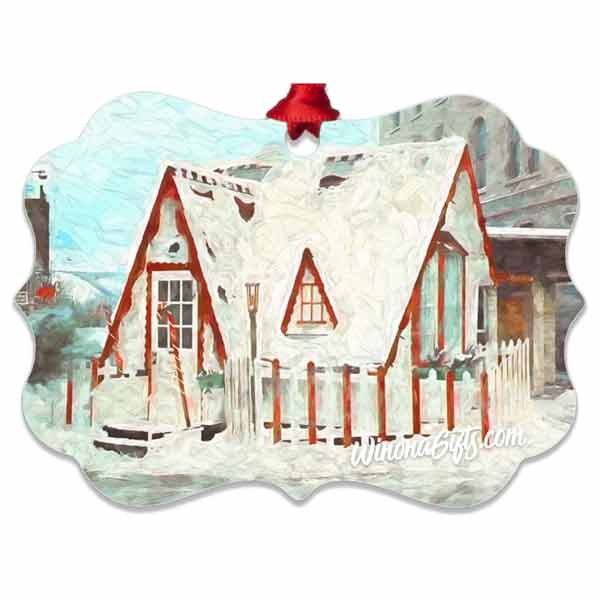Santa House of Winona Minnesota Ornament, Aluminum Benelux - Kari Yearous Photography WinonaGifts KetoGifts LoveDecorah