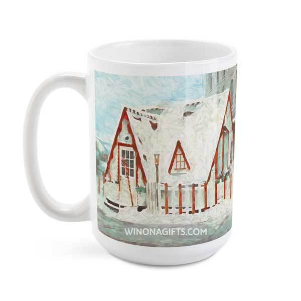 Santa House Downtown Winona Minnesota Coffee Mug, 15 oz - Kari Yearous Photography WinonaGifts KetoGifts LoveDecorah
