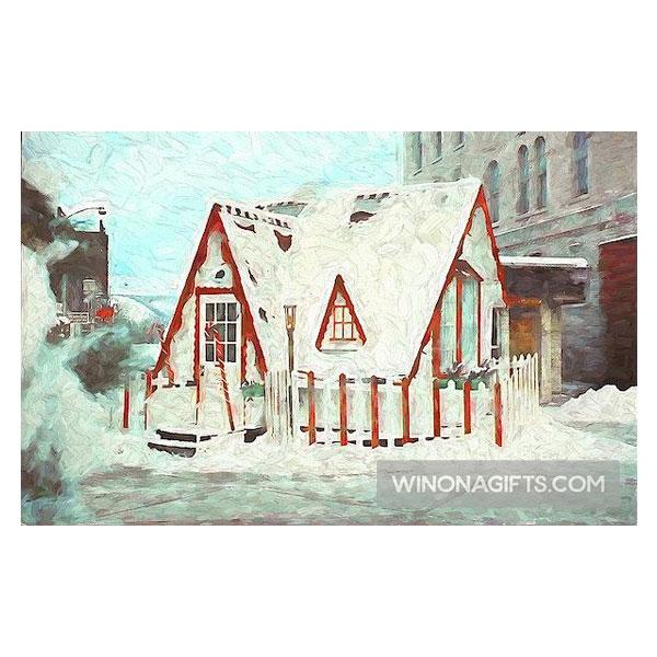 Santa House Downtown Winona Minnesota Digital Painting - Art Print - Kari Yearous Photography WinonaGifts KetoGifts LoveDecorah