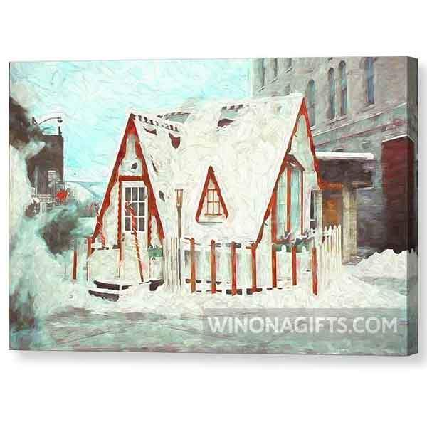 Santa House Downtown Winona Minnesota Digital Painting - Canvas Print - Kari Yearous Photography WinonaGifts KetoGifts LoveDecorah
