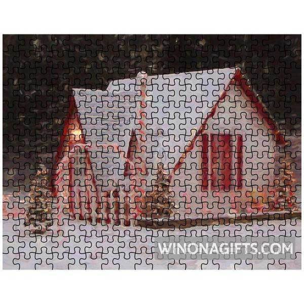 Puzzle Santa House Winona MN Snowy Night - Kari Yearous Photography WinonaGifts KetoGifts LoveDecorah