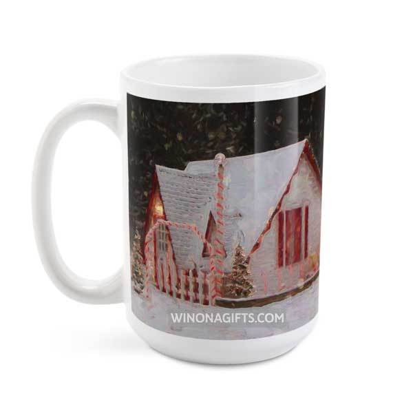 Santa House of Winona Minnesota Snowy Night Coffee Mug, 15 oz - Kari Yearous Photography WinonaGifts KetoGifts LoveDecorah