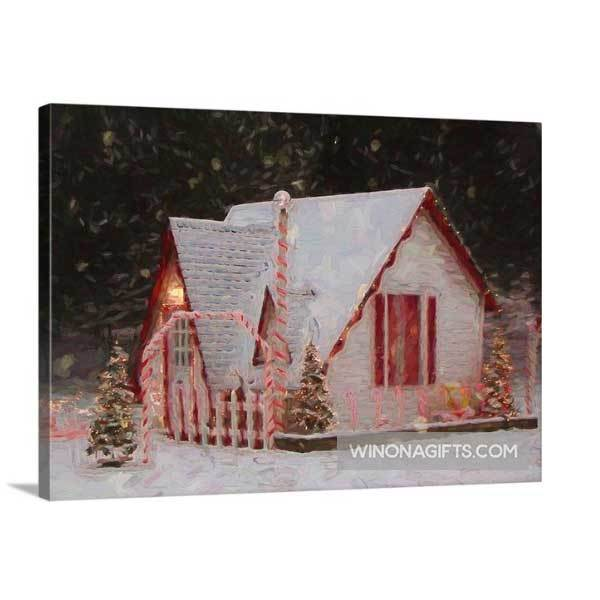 "Mini 5"" x 7"" Canvas Wrap Santa House of Winona Minnesota Snowy Night - Kari Yearous Photography WinonaGifts KetoGifts LoveDecorah"
