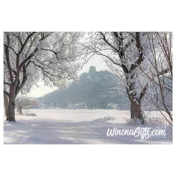 Frosty Sugarloaf Between Trees - Art Print - Kari Yearous Photography WinonaGifts KetoGifts LoveDecorah