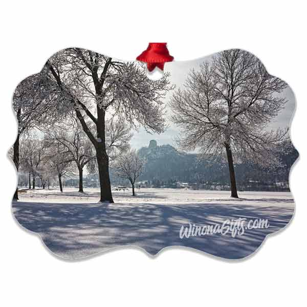 Winona Minnesota Ornament Sugarloaf with Frosty Trees, Aluminum Ornament - Kari Yearous Photography WinonaGifts KetoGifts LoveDecorah