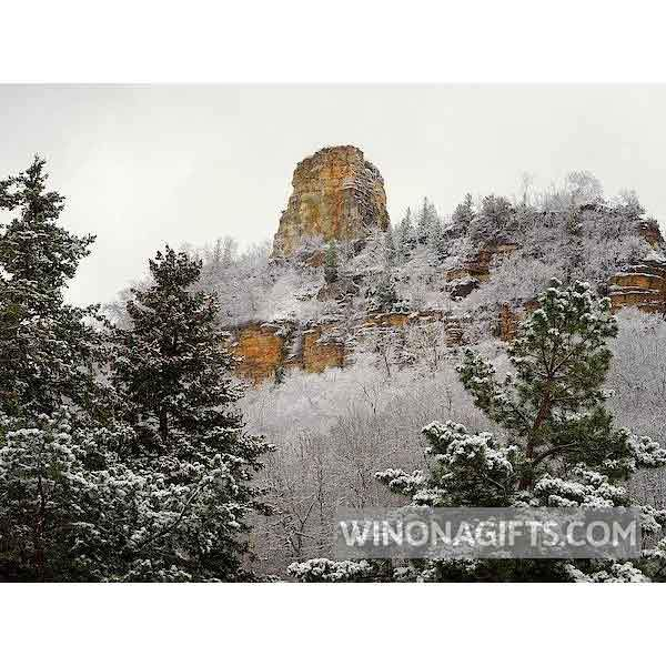 Sugarloaf With Evergreens Winona Minnesota - Art Print - Kari Yearous Photography WinonaGifts KetoGifts LoveDecorah