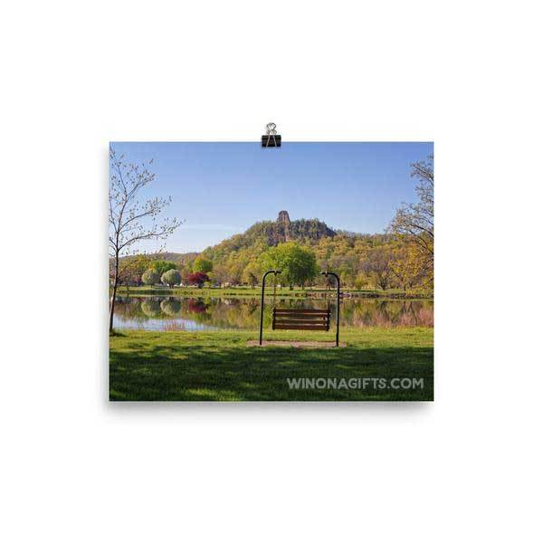 Sugarloaf Winona Minnesota in Spring with Bench, 8x10 - Kari Yearous Photography WinonaGifts KetoGifts LoveDecorah