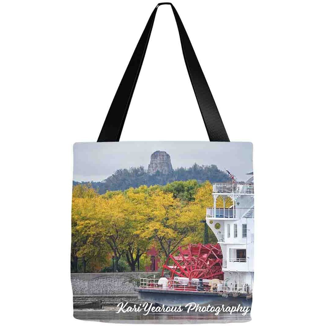 Tote Bag Sugarloaf With Paddlewheeler Winona Minnesota - Kari Yearous Photography WinonaGifts KetoGifts LoveDecorah
