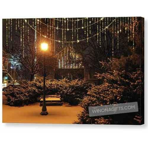 Wesley United Methodist Church Winona Minn With Lights Overlay - Canvas Print - Kari Yearous Photography WinonaGifts KetoGifts LoveDecorah