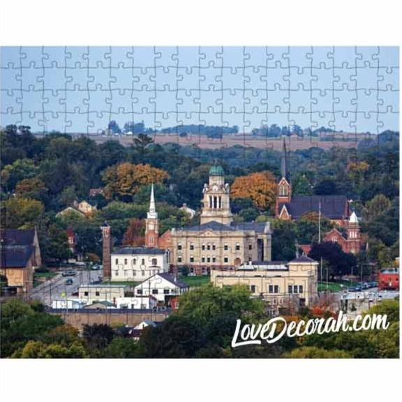 Decorah Iowa Puzzle Winneshiek County Courthouse in Fall