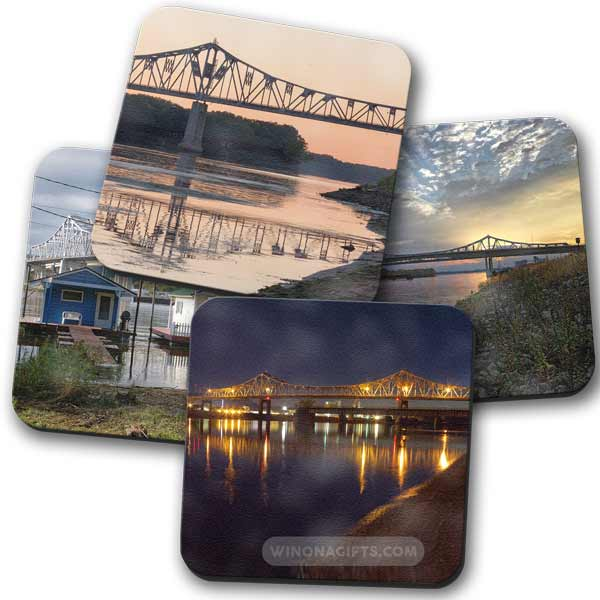 Highway 43 Bridge Winona Minnesota Coasters, Set of 4 - Kari Yearous Photography WinonaGifts KetoGifts LoveDecorah