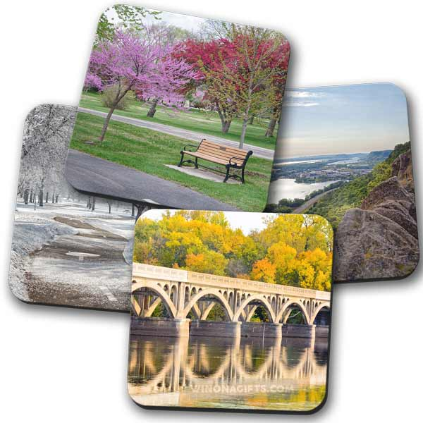 Four Seasons of Winona Minnesota Coasters, Set of 4 - Kari Yearous Photography WinonaGifts KetoGifts LoveDecorah