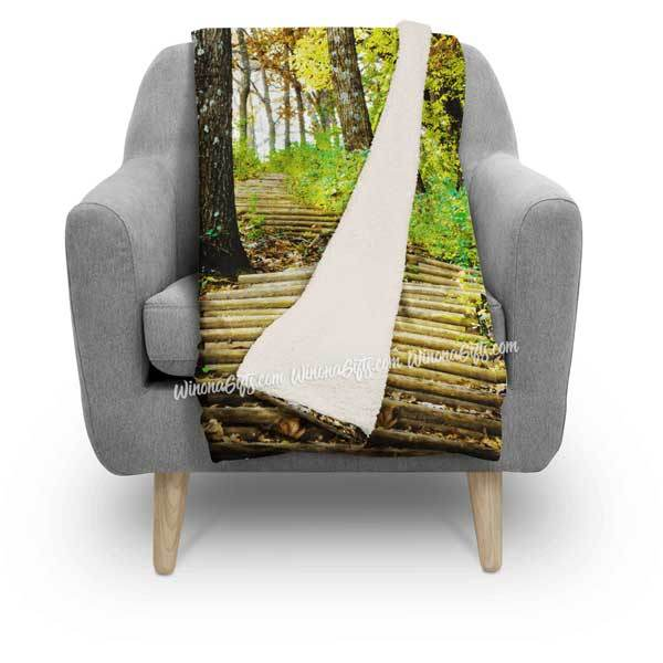 Blanket, Fleece Sherpa, Garvin Heights Steps Winona MN - Kari Yearous Photography WinonaGifts KetoGifts LoveDecorah
