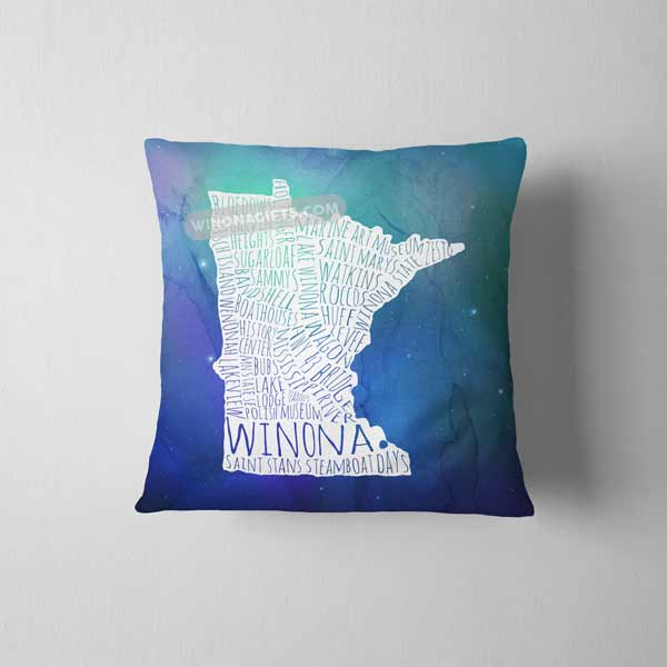 "Winona Minnesota Pillow Word Map Blue Galaxy, 14"" x 14"" - Kari Yearous Photography WinonaGifts KetoGifts LoveDecorah"
