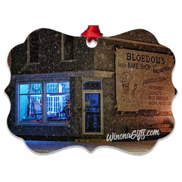 Winona Minnesota Bakery Ornament, Aluminum Benelux - Kari Yearous Photography WinonaGifts KetoGifts LoveDecorah