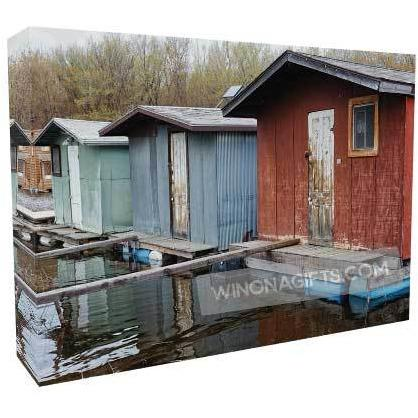 "Winona Minn Canvas Wrap Boathouses Backwater Trio 5"" x 7"""