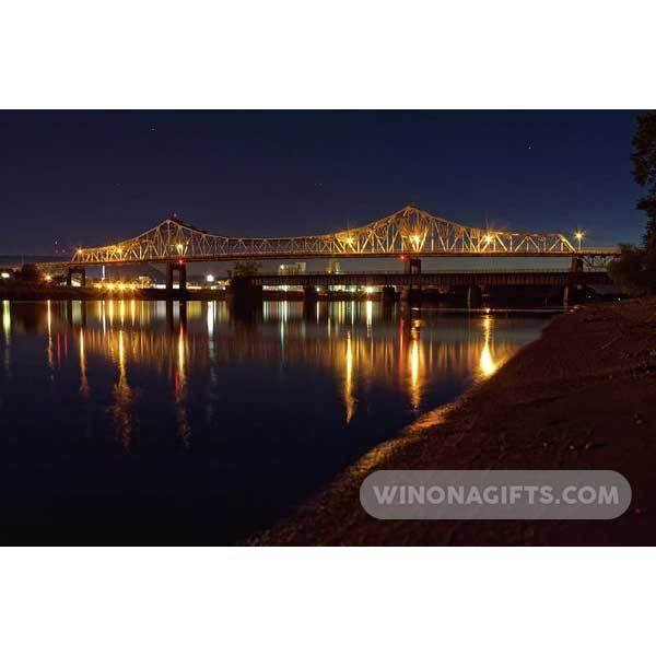 Winona Minnesota Bridge At Night - Art Print - Kari Yearous Photography WinonaGifts KetoGifts LoveDecorah
