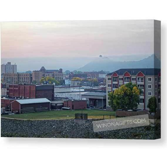 Winona Minnesota With Fog And Sugarloaf - Canvas Print