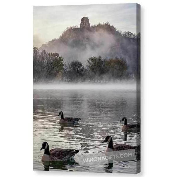 Geese With Sugarloaf In Winona Minnesota - Canvas Print - Kari Yearous Photography KetoLaughs