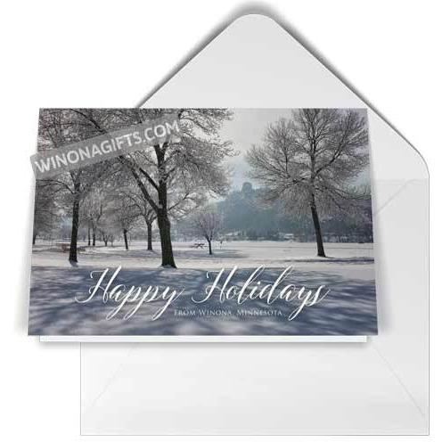 Winona Holiday Card Sugarloaf with Frost - Kari Yearous Photography WinonaGifts KetoGifts LoveDecorah