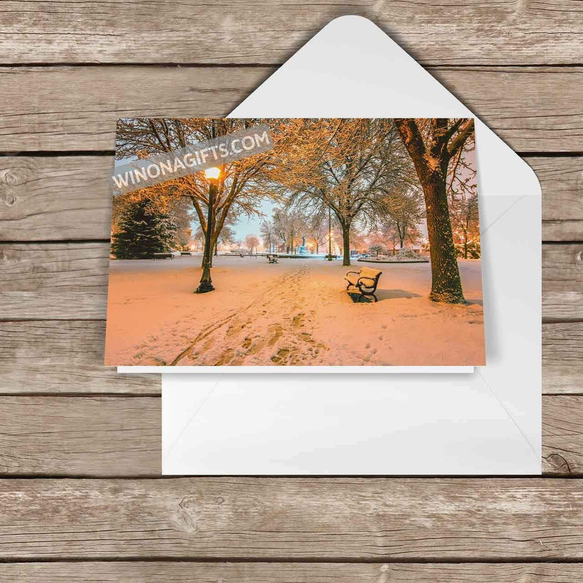 Winona Christmas Card Snowy Path to Wenonah, 5-pack - Kari Yearous Photography WinonaGifts KetoGifts LoveDecorah