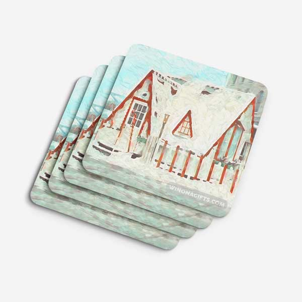 Winona Minnesota Drink Coasters, Santa House Downtown, Set of 4 - Kari Yearous Photography WinonaGifts KetoGifts LoveDecorah