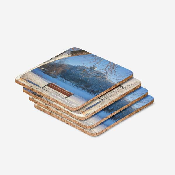 Winona Minnesota Coasters, Sugarloaf in Winter with Bench, Set of 4 - Kari Yearous Photography WinonaGifts KetoGifts LoveDecorah