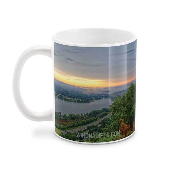 Winona Minnesota Mug 15 oz, Garvin Heights Sunrise - Kari Yearous Photography WinonaGifts KetoGifts LoveDecorah