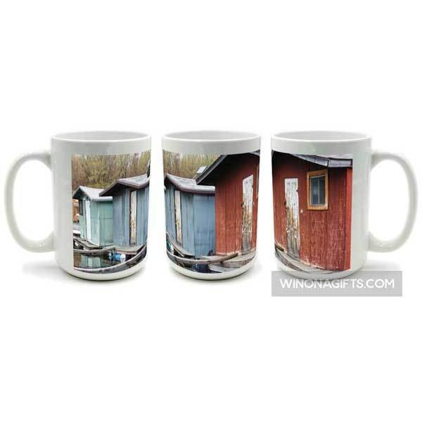 Winona Minnesota Mug Boathouse Trio, Large 15 oz Size - Kari Yearous Photography KetoLaughs