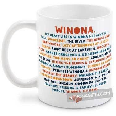 Winona Minnesota Mug, My Heart Lies in Winona, Public Schools Version - Kari Yearous Photography WinonaGifts KetoGifts LoveDecorah