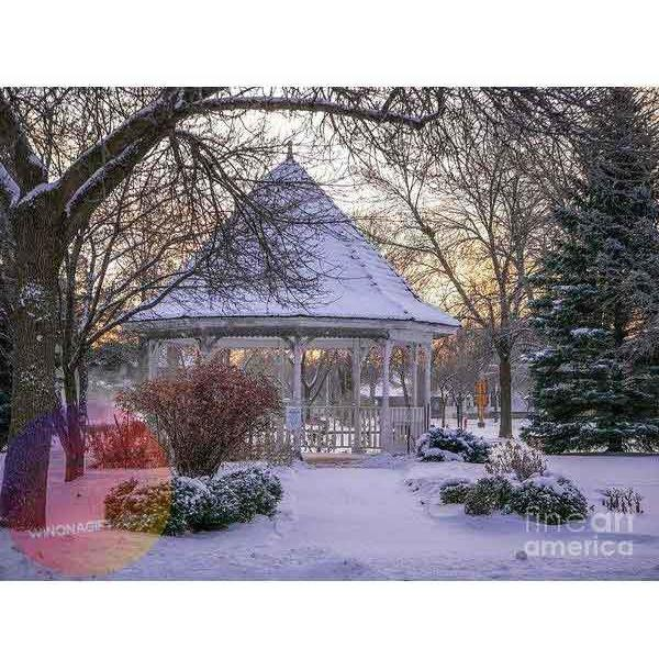 Winter Morning Windom Park Gazebo - Art Print