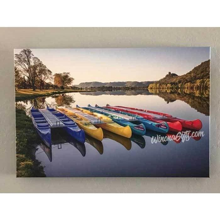 Canoes in the Early Morning Winona Minnesota Photo, Canvas Wrap - Kari Yearous Photography KetoLaughs