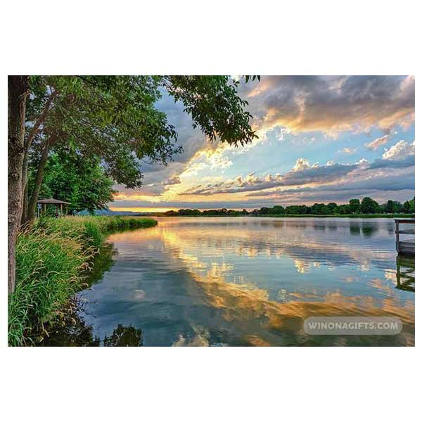 East Lake Winona Sunset with Pier - Art Print