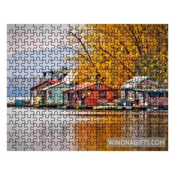 Winona Minnesota Jigsaw Puzzle Boathouses at Latsch Island
