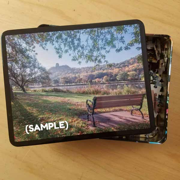 Winona Minnesota Puzzle Seat with a View of Sugarloaf - Kari Yearous Photography WinonaGifts KetoGifts LoveDecorah