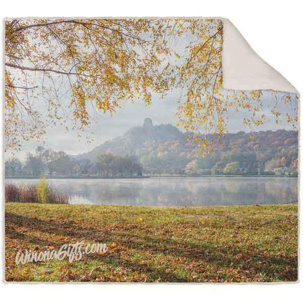 Blanket, Fleece Sherpa, Sugarloaf With Golden Leaves - Kari Yearous Photography WinonaGifts KetoGifts LoveDecorah