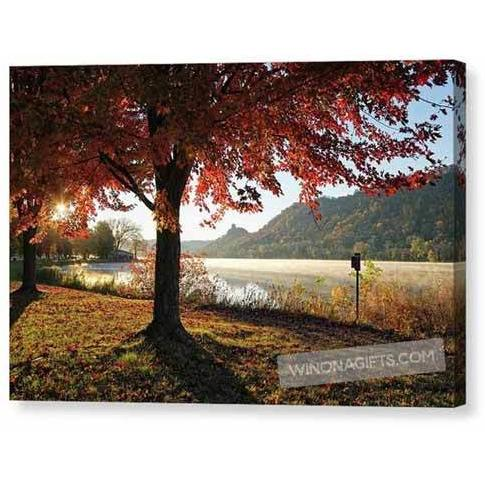Winona Sugarloaf With Autumn Red Maple - Canvas Print (Includes larger sizes) - Kari Yearous Photography WinonaGifts KetoGifts LoveDecorah