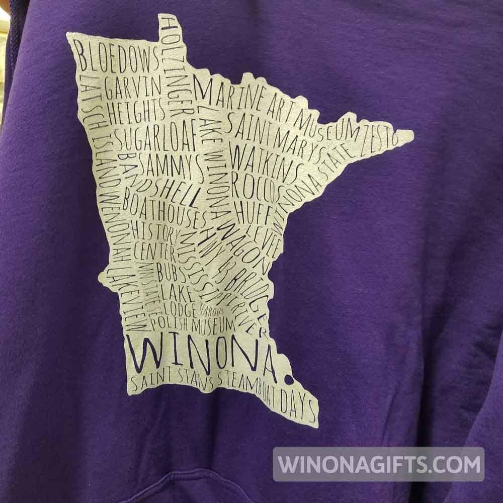 Winona Hooded Sweatshirt Typography Map White - Kari Yearous Photography KetoLaughs