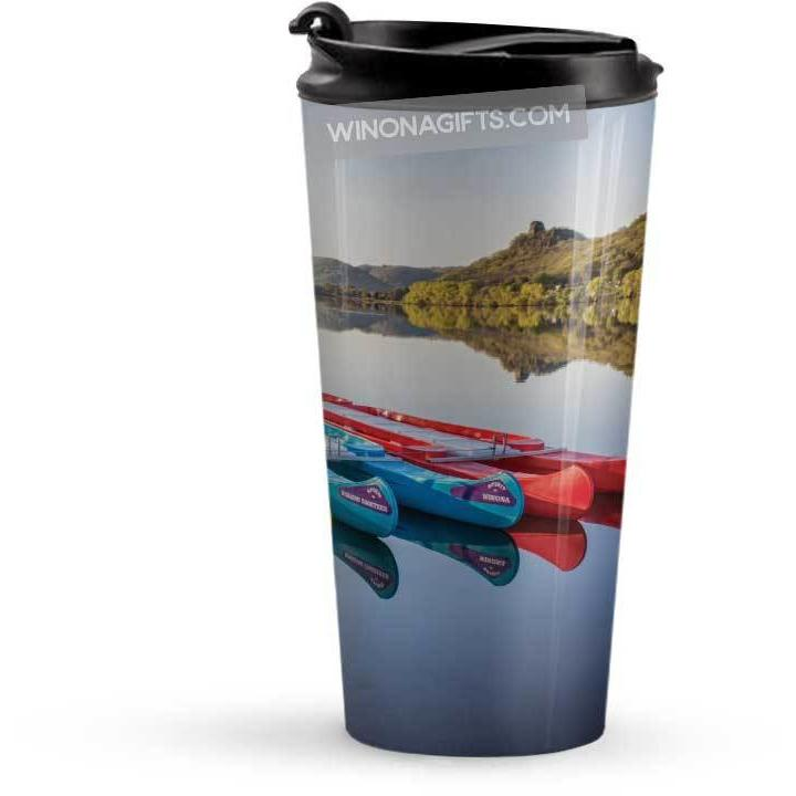 Winona Minnesota Travel Mug Canoes with Sugarloaf - Kari Yearous Photography KetoLaughs